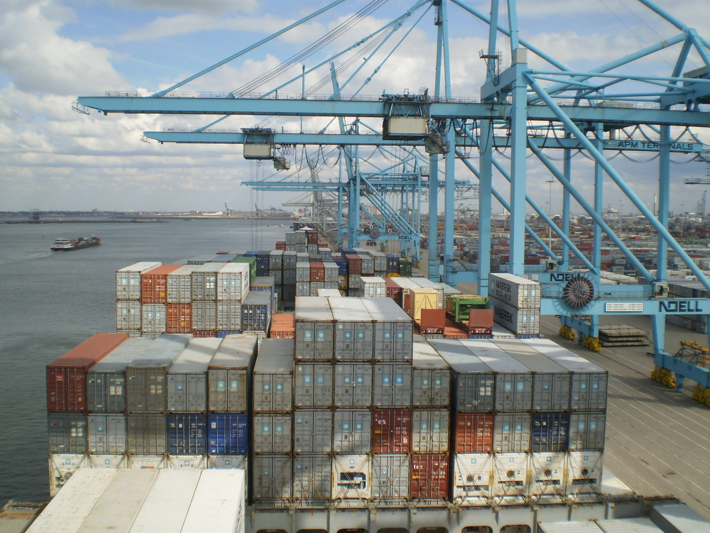 Container handling cranes view from bridge.