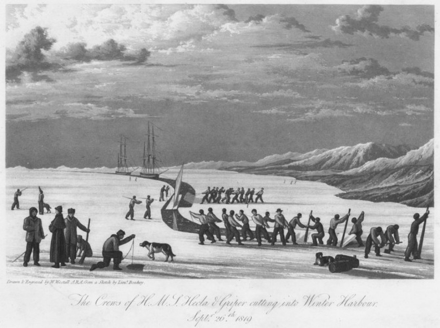 The Crews of H M S Hecla & Griper Cutting into Winter Harbour, Septr 26th 1819