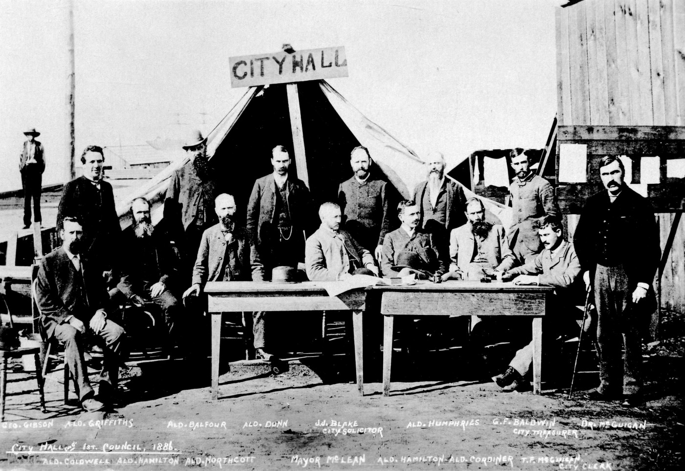 The Vancouver City Council meets for the first time in the improvised city hall following the fire.