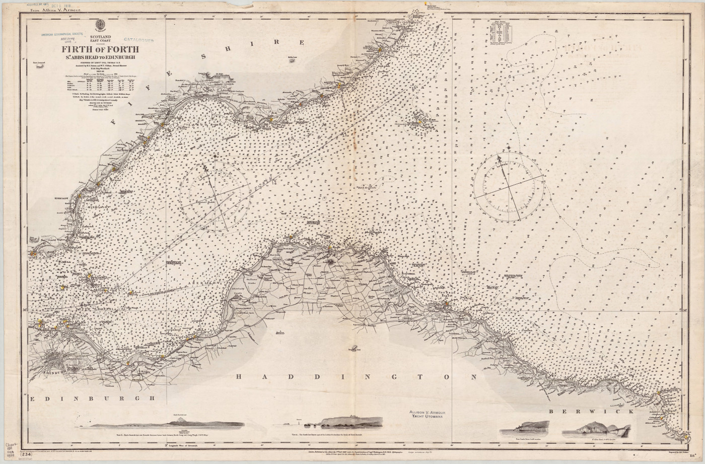 Admiralty Chart No 114a Firth of Forth St Abbs Head to Edinburgh, 1860