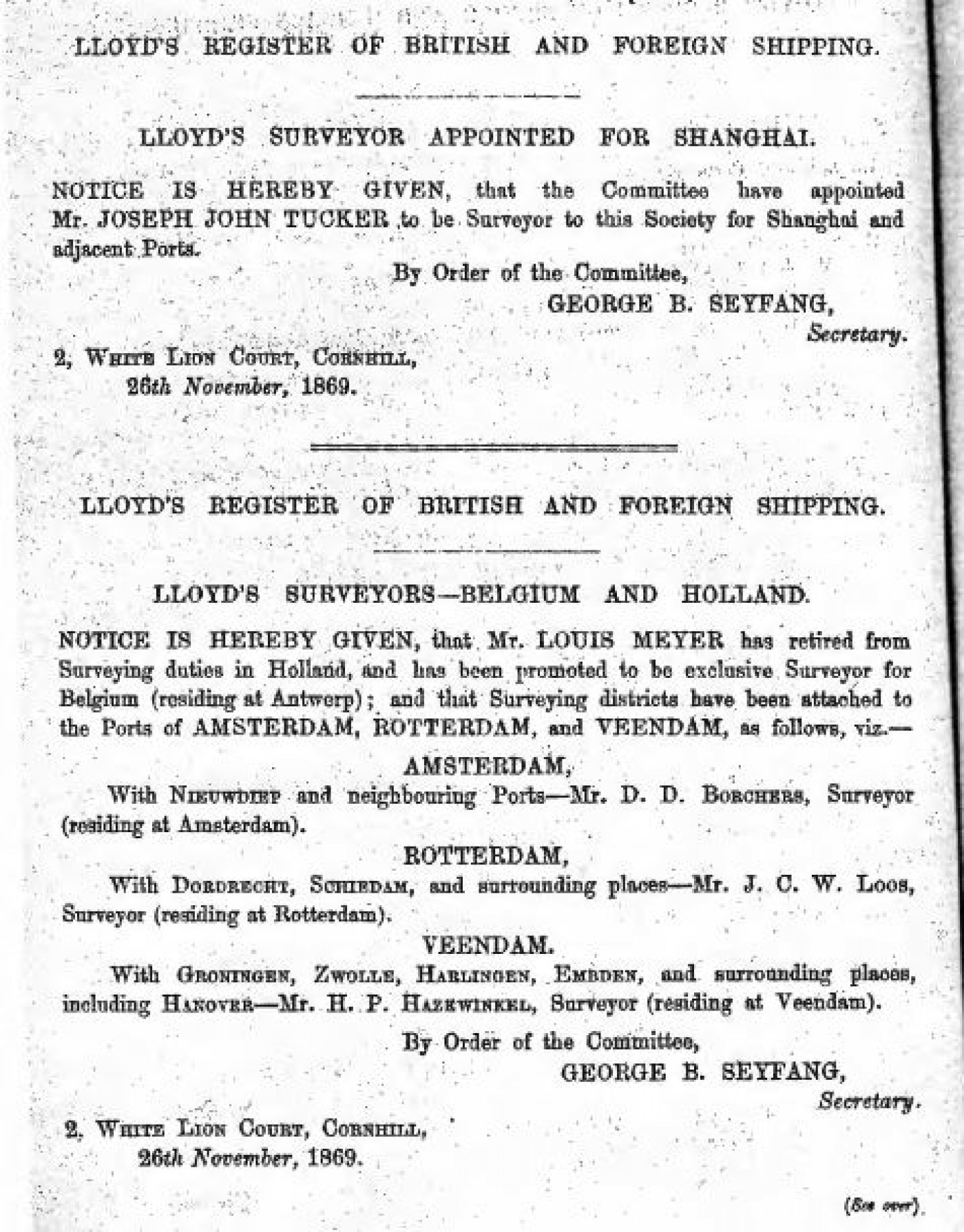 Appointment of Surveyors abroad 1870
