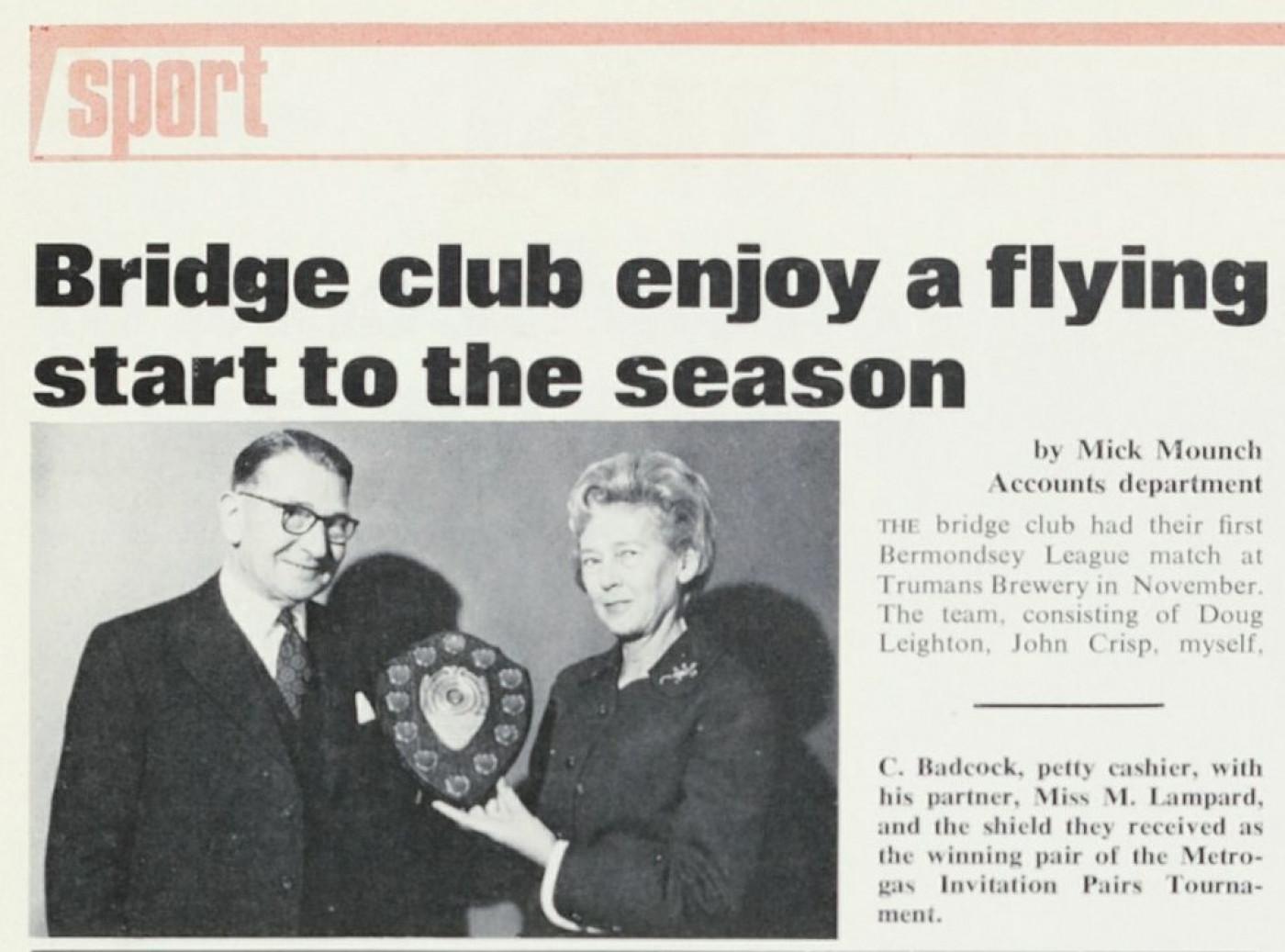 Article on LR's Bridge Club, Society magazine 1973