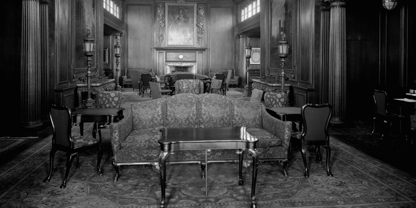 Aquitania carolean smoking room. Copyright Wikicommons - RMG_G10866