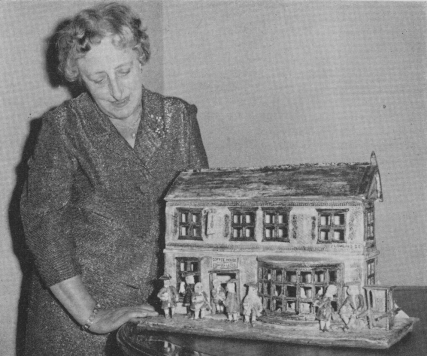 Mrs Campbell with her model of Edward Lloyd's Coffee House