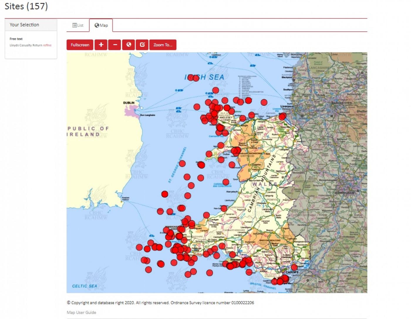 Coflein map of Lloyd's Casualty returns