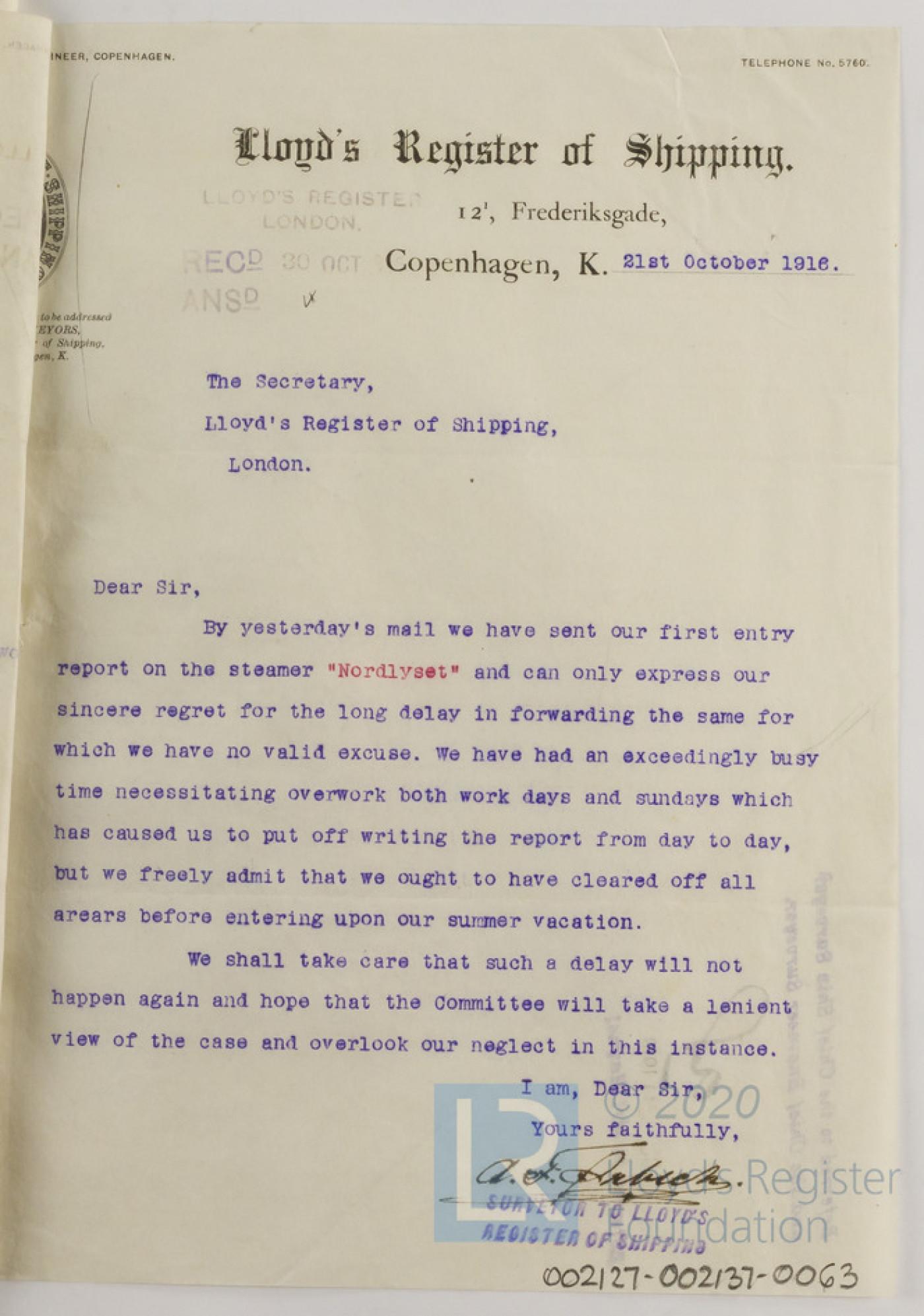 Letter from A F Orbech, Copenhagen Surveyor, to the Secretary for Lloyd's Register regarding Nordlyset, 21st October 1916