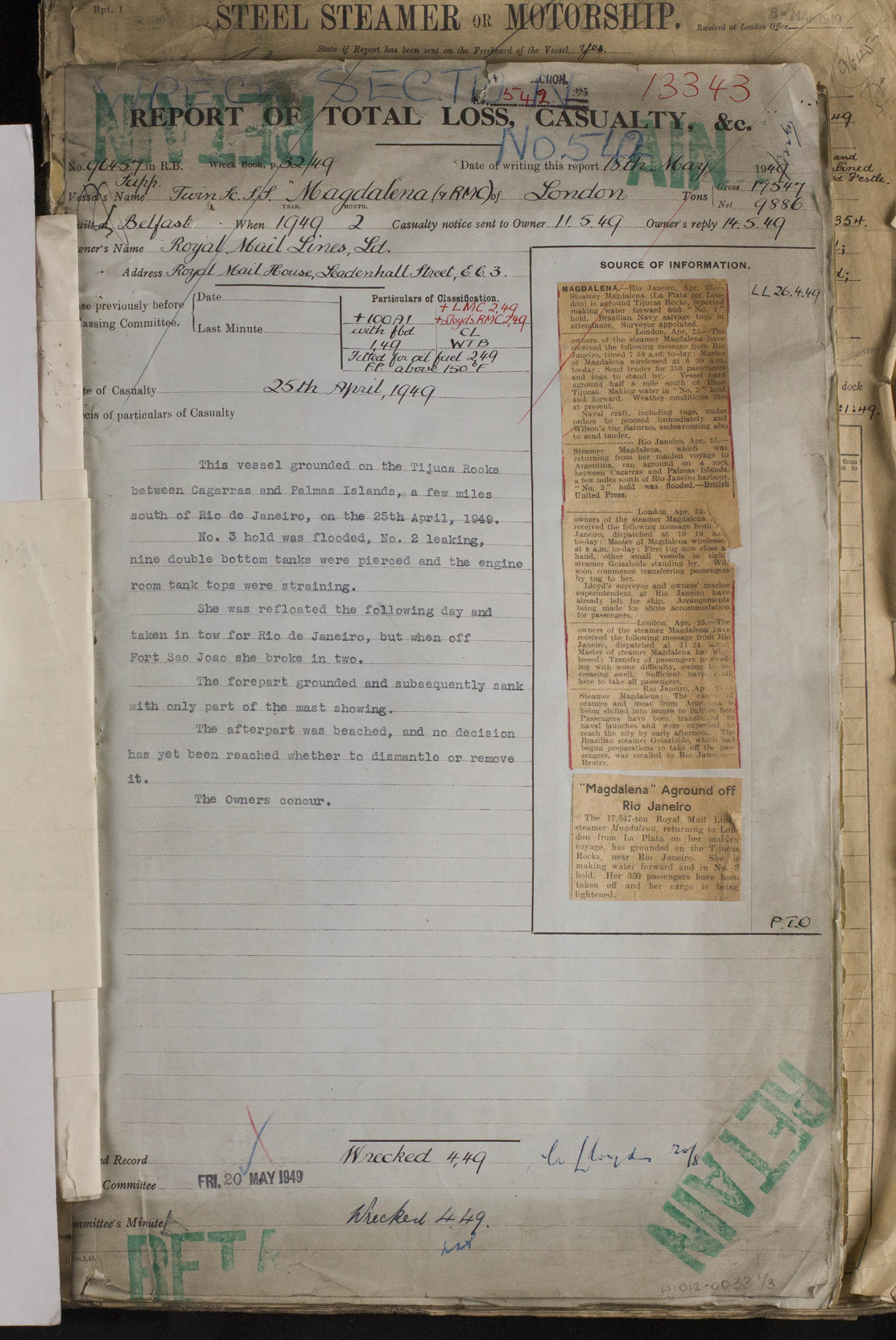 Report of Total Loss and Casualty for Magdalena, 18th May 1949