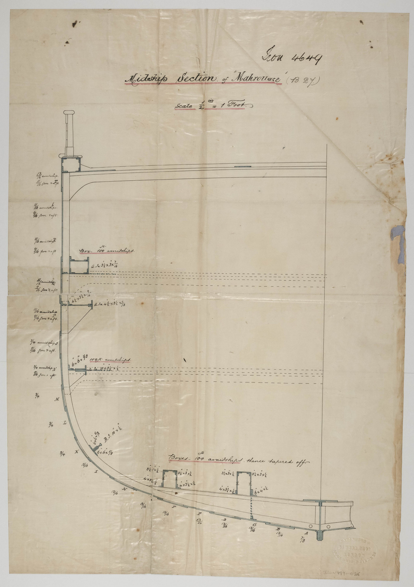 Half Midship Section Plan for <i>Mahrousse</i>,
