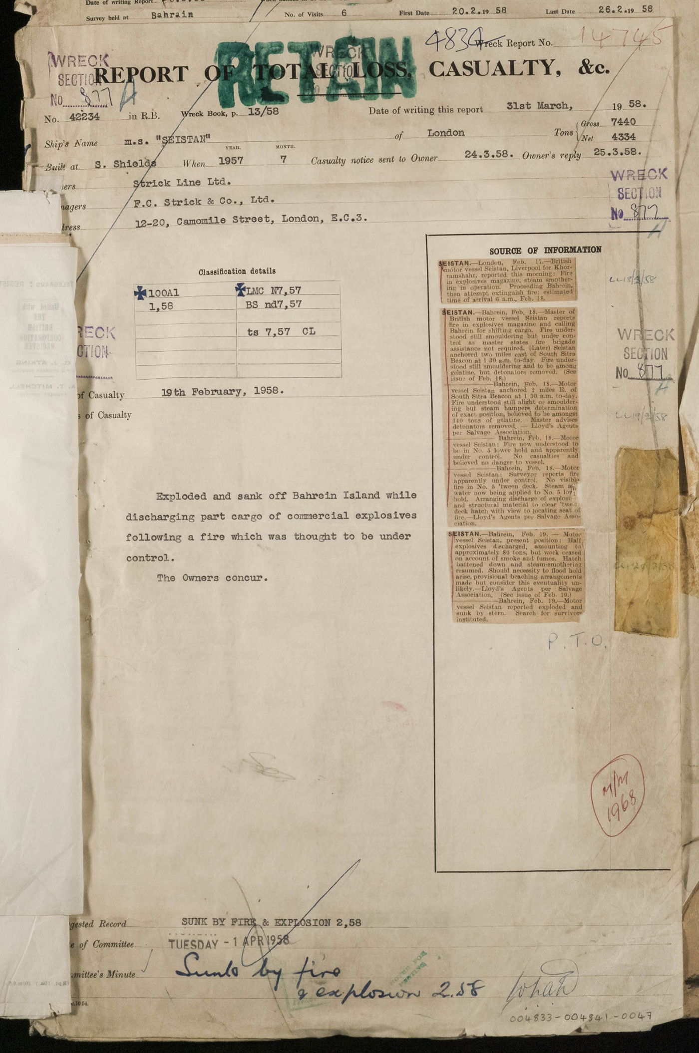 Report of Total Loss and Casualty for Seistan, 31st March 1958