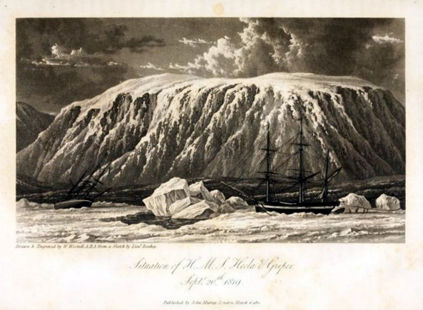 Situation of H M S Hecla & Griper Septr 20th 1819