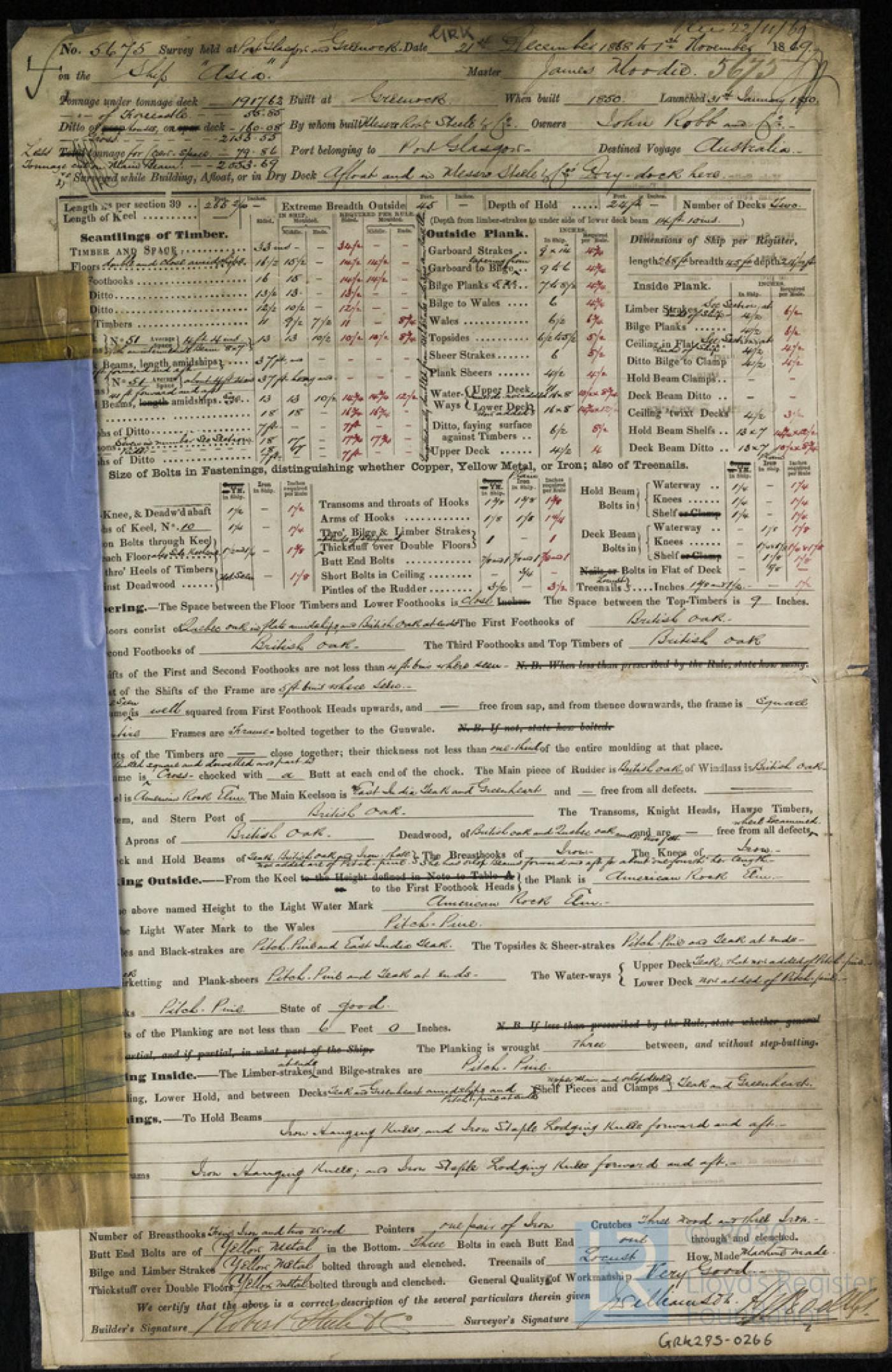 Survey Report for Asia, 1st November 1869