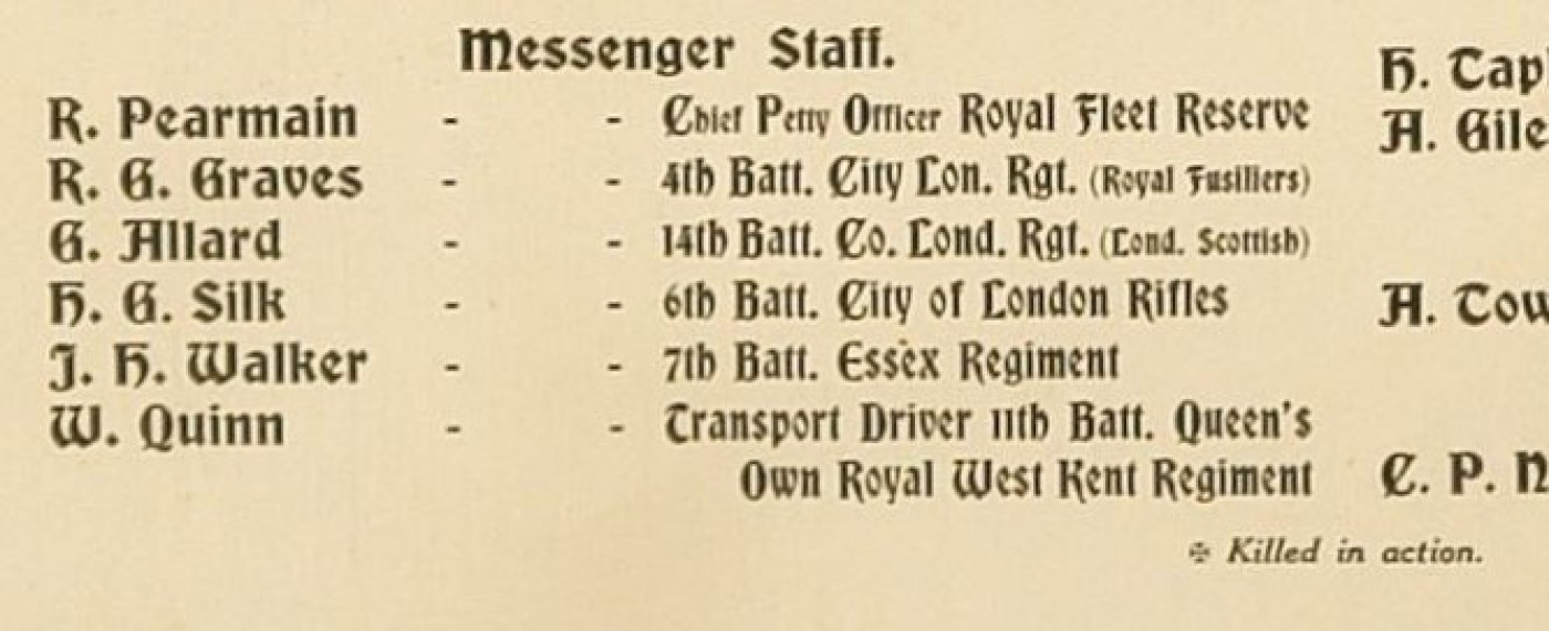 List of messenger staff and their regiments during the First World War