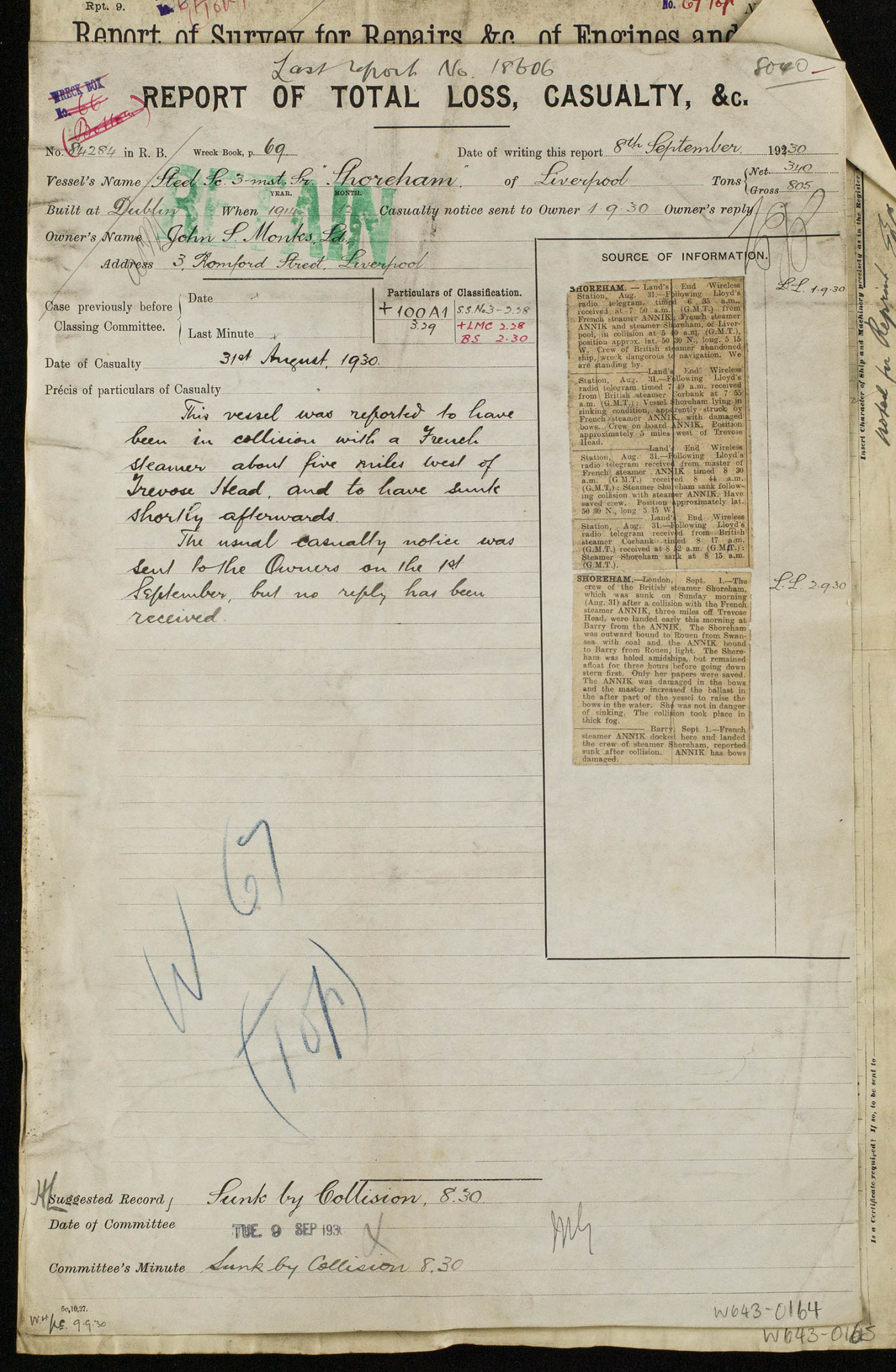 A sample of the Wreck Report of Total Loss and Casualty used by Lloyd's Register. This report records the sinking of the steel screw three masted schooner Shoreham after a collision with a French trawler, 5 miles off Trevose Head.