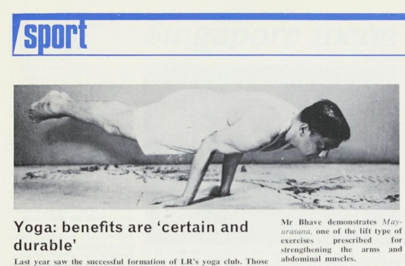 Article on LR's Yoga Club, Society Magazine 1978