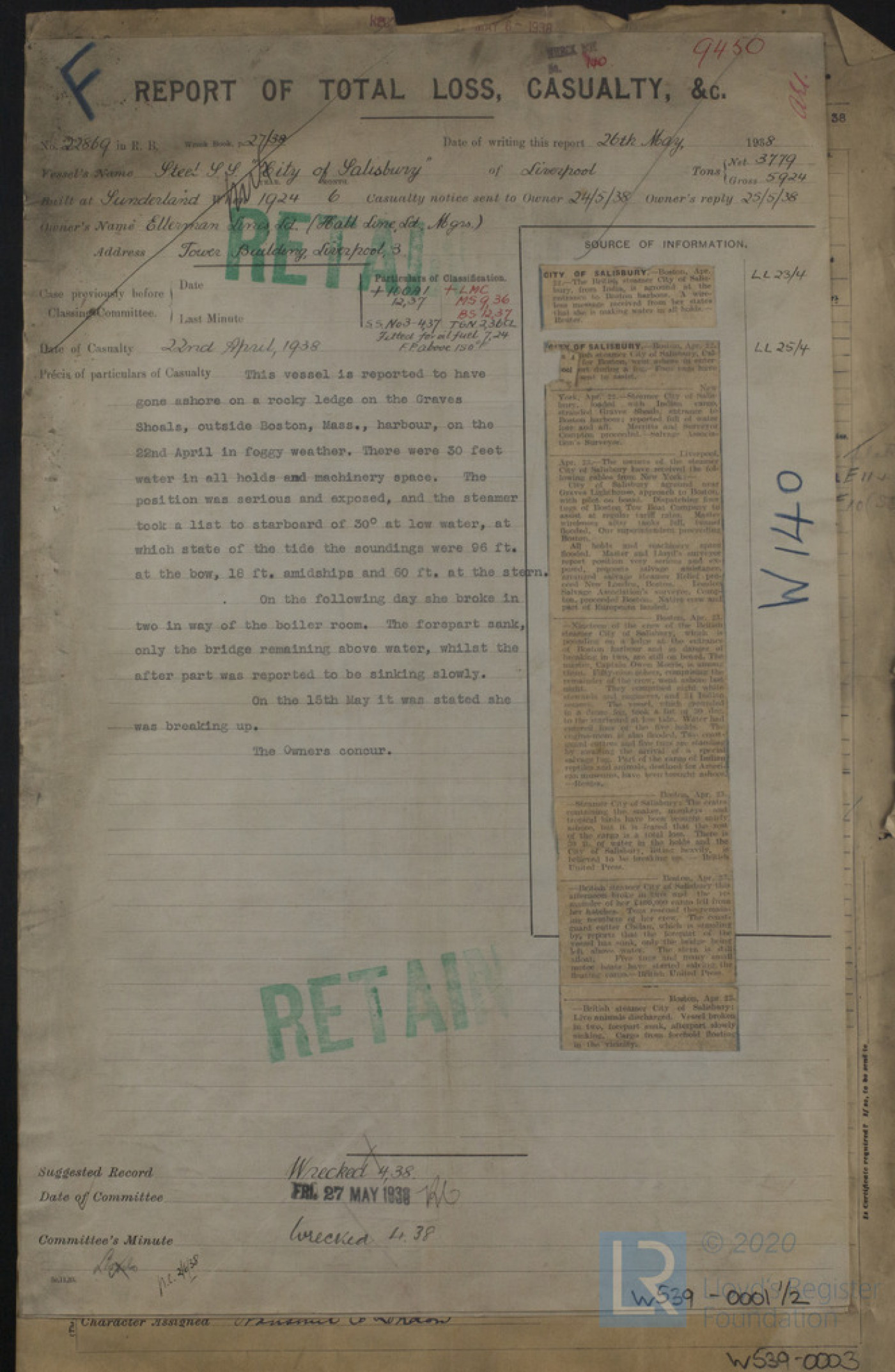 Report of Total Loss, Casualty, &c for City of Salisbury, 26th May 1938