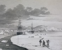 Drawn and engraved by Edward Finden from a sketch by Capt. George Francis Lyon, Cutting into Winter Island, from A Journal of a North-West Passage by Capt. Parry (London, 1824) (Courtesy of Wikigallery)