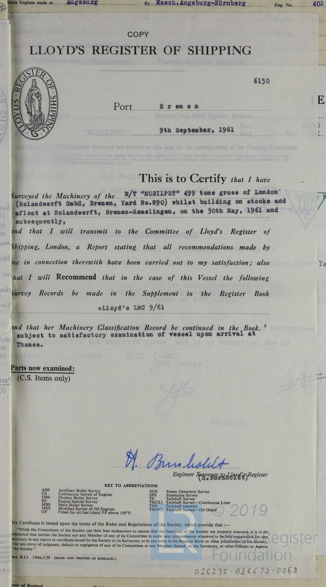 survey certificate 1961