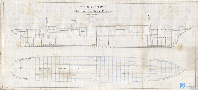 Profile And Deck Plan For The Steamer Carenero 19 May 1890