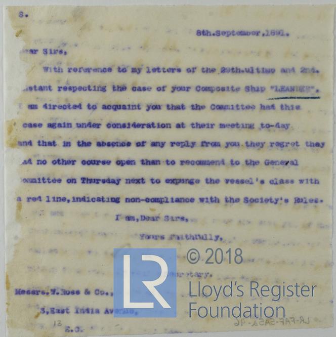 Letter From Lloyd's Register Secretary To W Ross & Co On